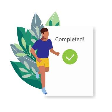 Fitness tracker, sports app user interface. Running man vector illustration