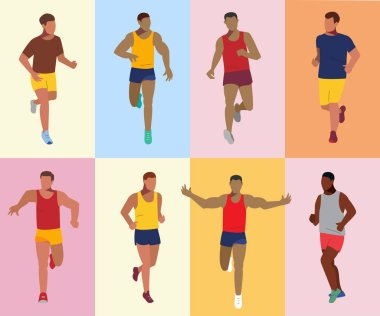Runners set. Sport running competition. Athletes vector illustration.
