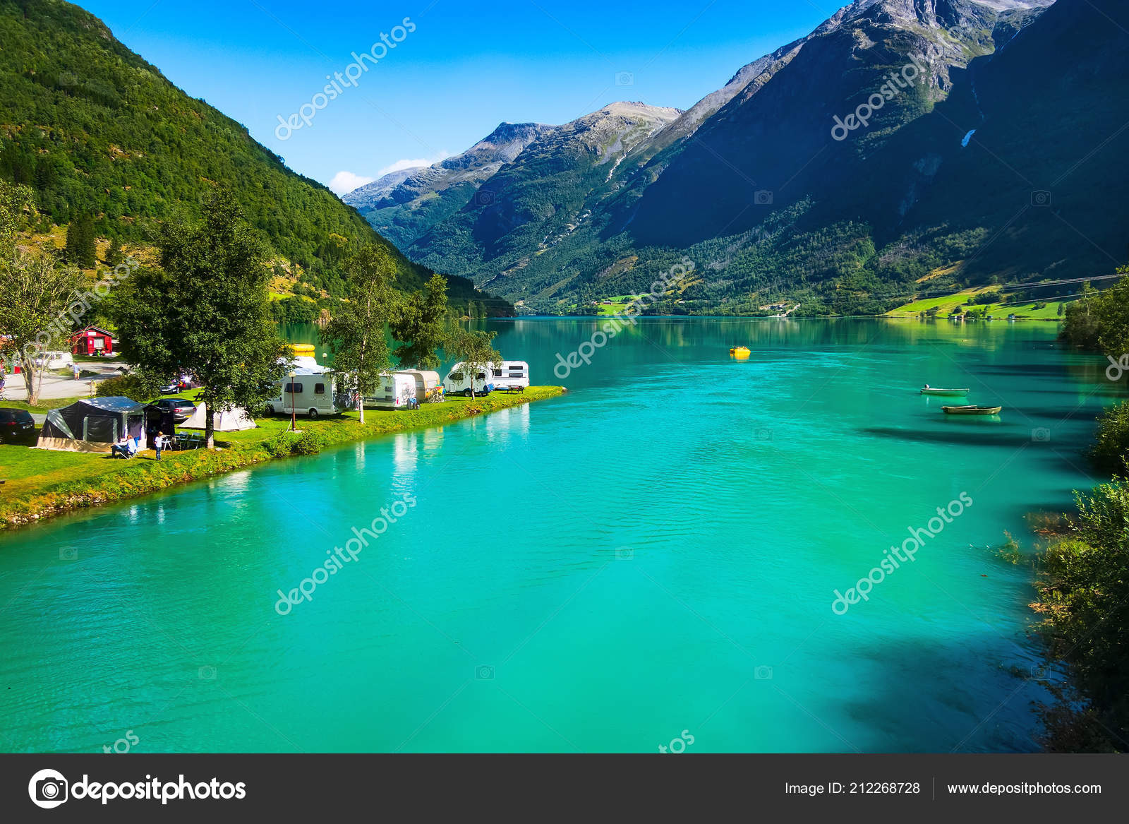Norway Olden Camping And Fjord Landscape Stock Photo