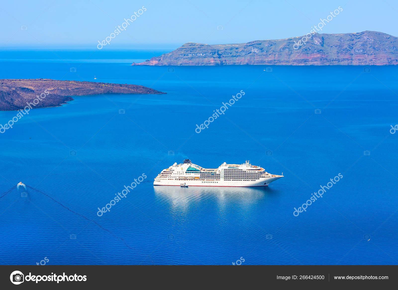 Panorama Of Caldera And Volcano Santorini Greece Stock