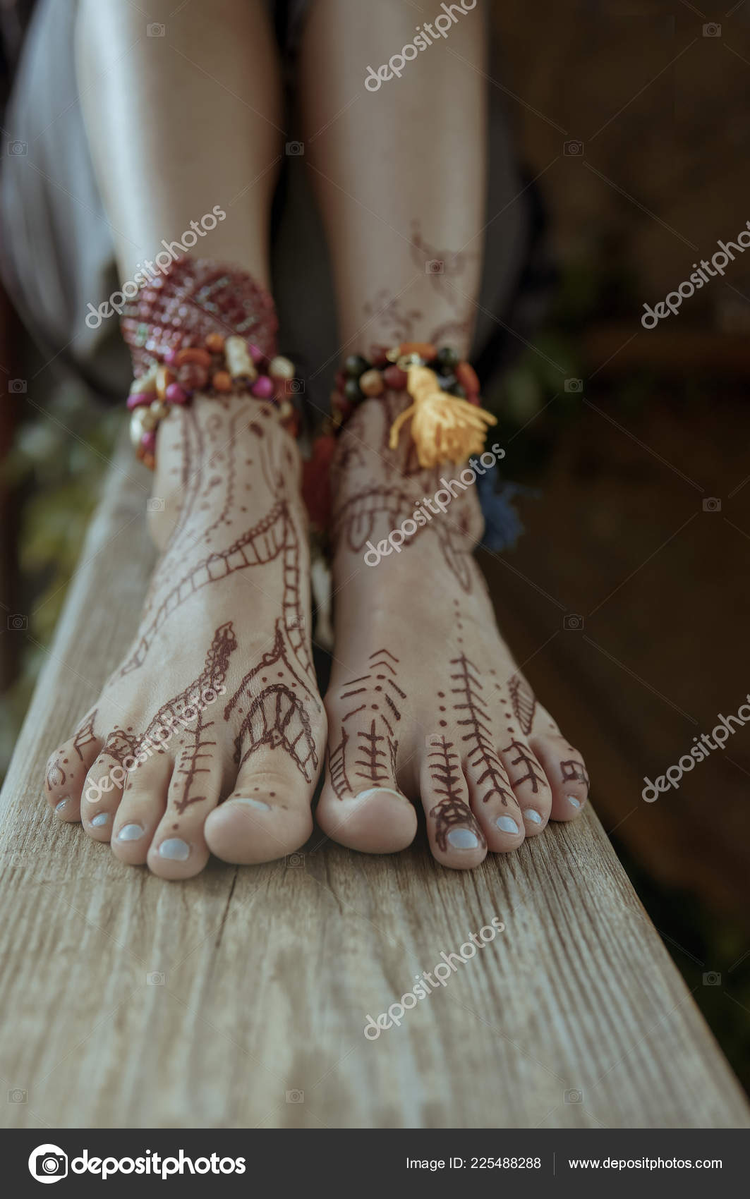 Henna Tattoo Design Legs Beautiful Indian Mehendi Ornaments Painted