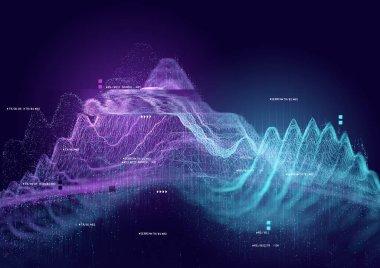 Big data and tracking information, 3D visualization illustration