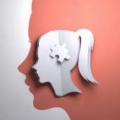 Fényképek Hajtogatott papír művészet origami. A sziluettje egy női fej-val egy puzzle-darabot. Fogalmi mindfulness 3D-s illusztráció