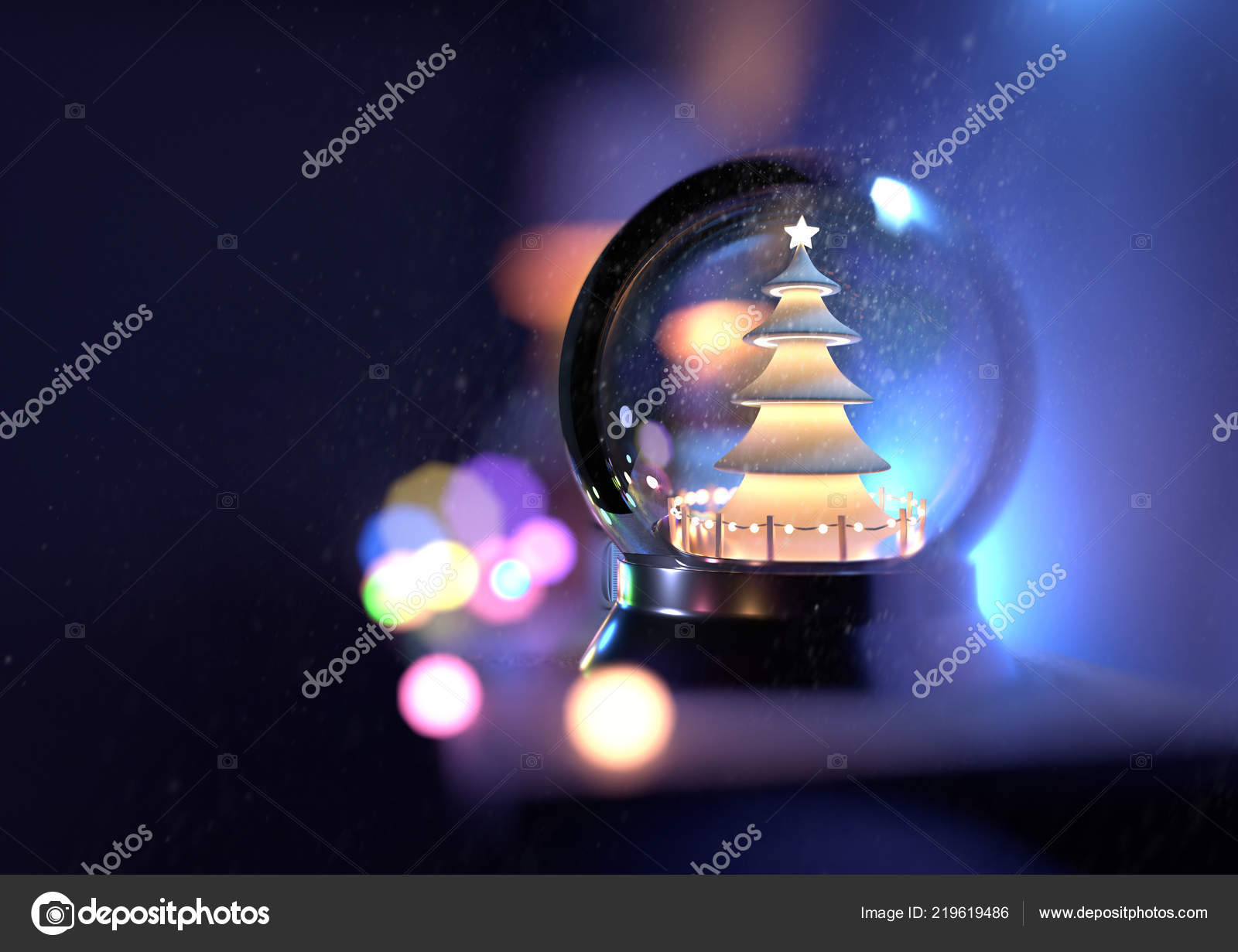 3d Weihnachtsbeleuchtung.Eine Schneekugel Weihnachten Auf Einem Regal Mit