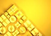 Žluté řady zabalené vánoční dárky. Shora dolů zobrazit hranice designu, 3d obrázek