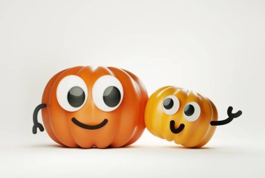Two halloween pumpkins characterswith faces and googly eyes hugging. 3D illustration stock vector