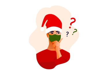 Thinking man in Christmas hat and mask. Beautiful face, doubts, problems, thoughts, emotions. Curious man questioning, question mark. Vector illustration icon