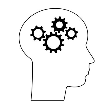 Concept of human intelligence. Head and Brain Gears in Progress. Vector line silhouette face, profile. Portrait icon man. Isolated illustration. icon
