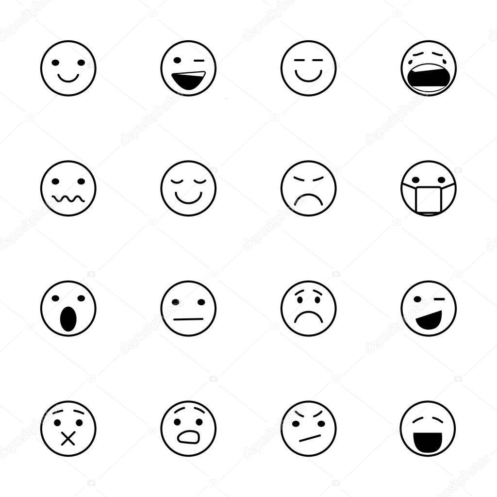 Face icons, Feedback in form of emotions. Rank, level of satisfaction rating. User experience. Review of consumer. Scale with colored segments. Vector Isolated illustration icon