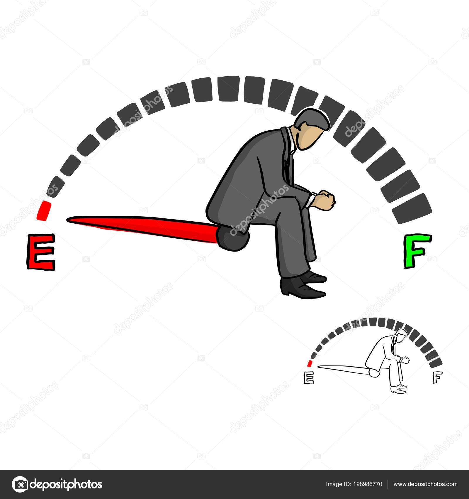 Stressed Businessman Sitting Fuel Gauge Sign Vector