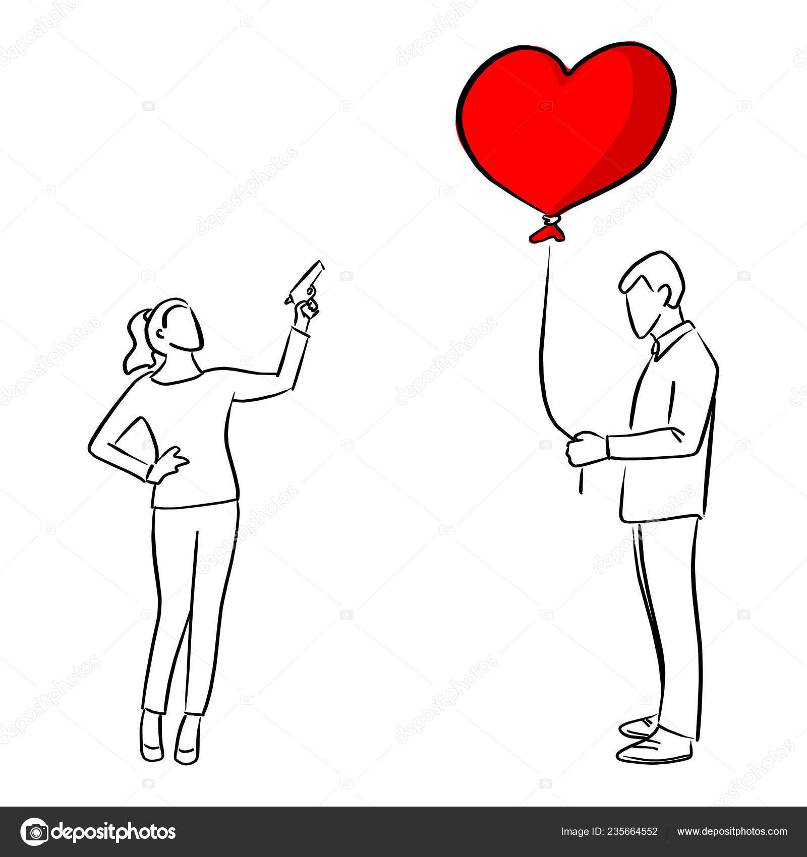 Woman Trying Shoot Red Heart Shape Balloon Man Vector Illustration