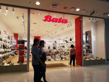 CHIANG RAI, THAILAND - MARCH 7, 2019 : Exterior view of the entrance to the Bata footware shop in Central department store on March 7, 2019 in Chiang rai, Thailand.