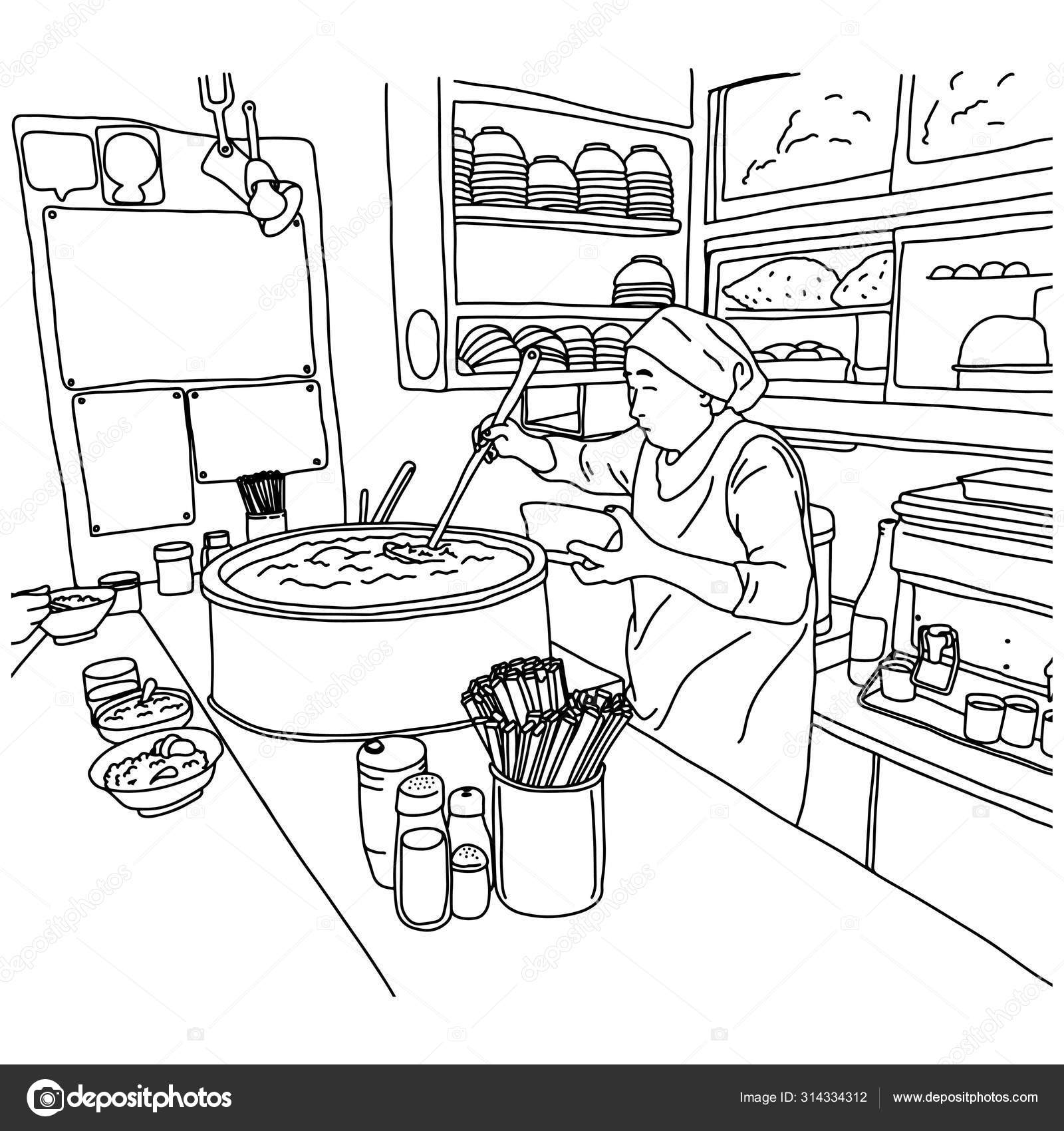 Old Female Chef Making Ramen Noodles In In Japanese Restaurant Vector Illustration Sketch Doodle Hand Drawn With Black Lines Isolated On White Background Stock Vector C A3701027d 314334312