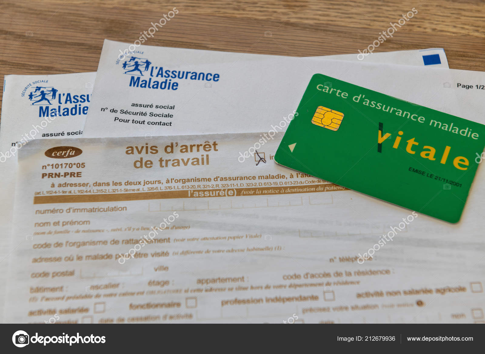 document pour carte vitale French Document Sick Leave Stoppage Work Vitale Card – Stock