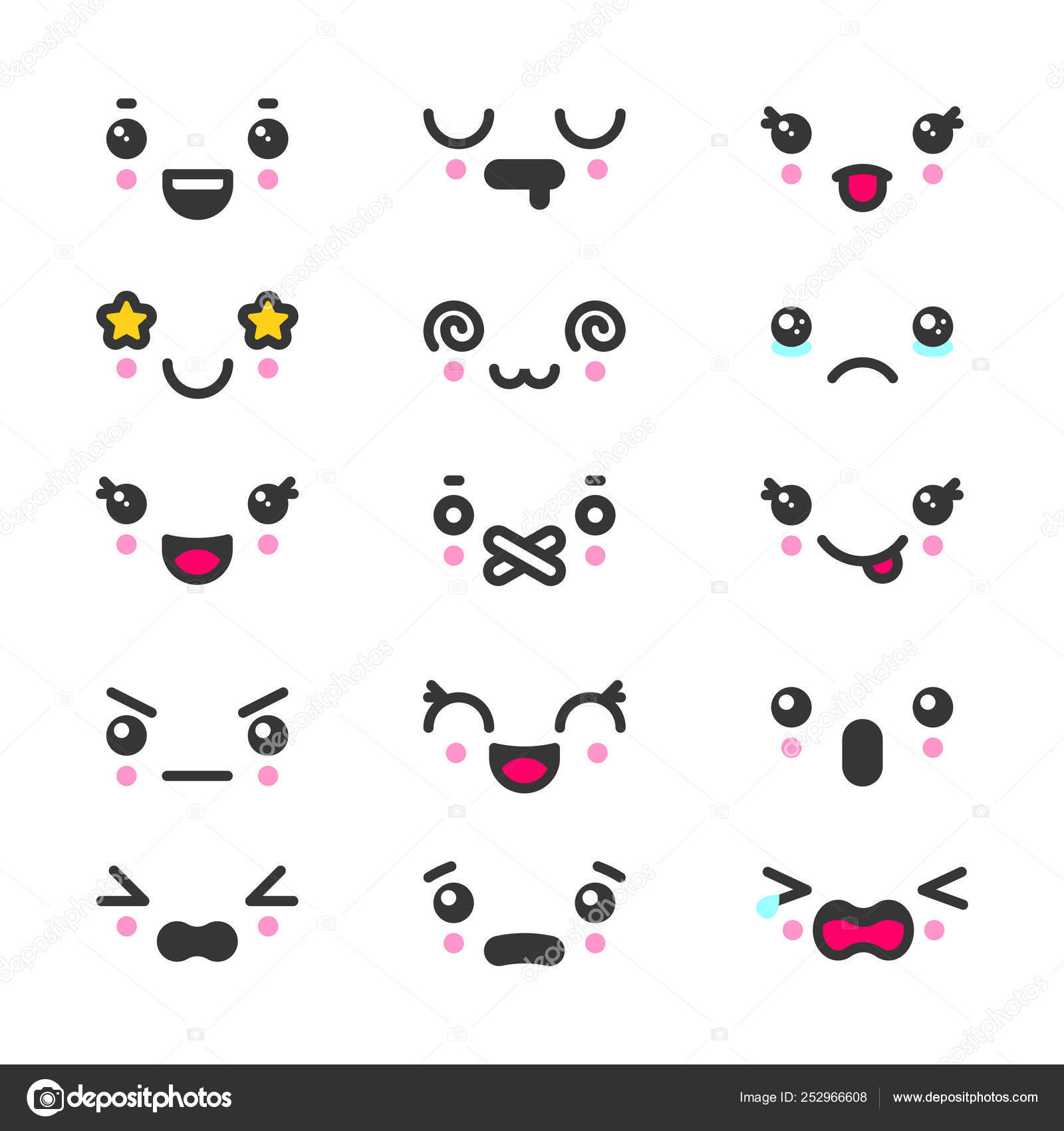Kawaii cute faces emoticons icon vector set — Stock Vector
