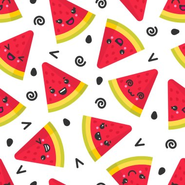 Cute smiling watermelon, vector seamless pattern on white background