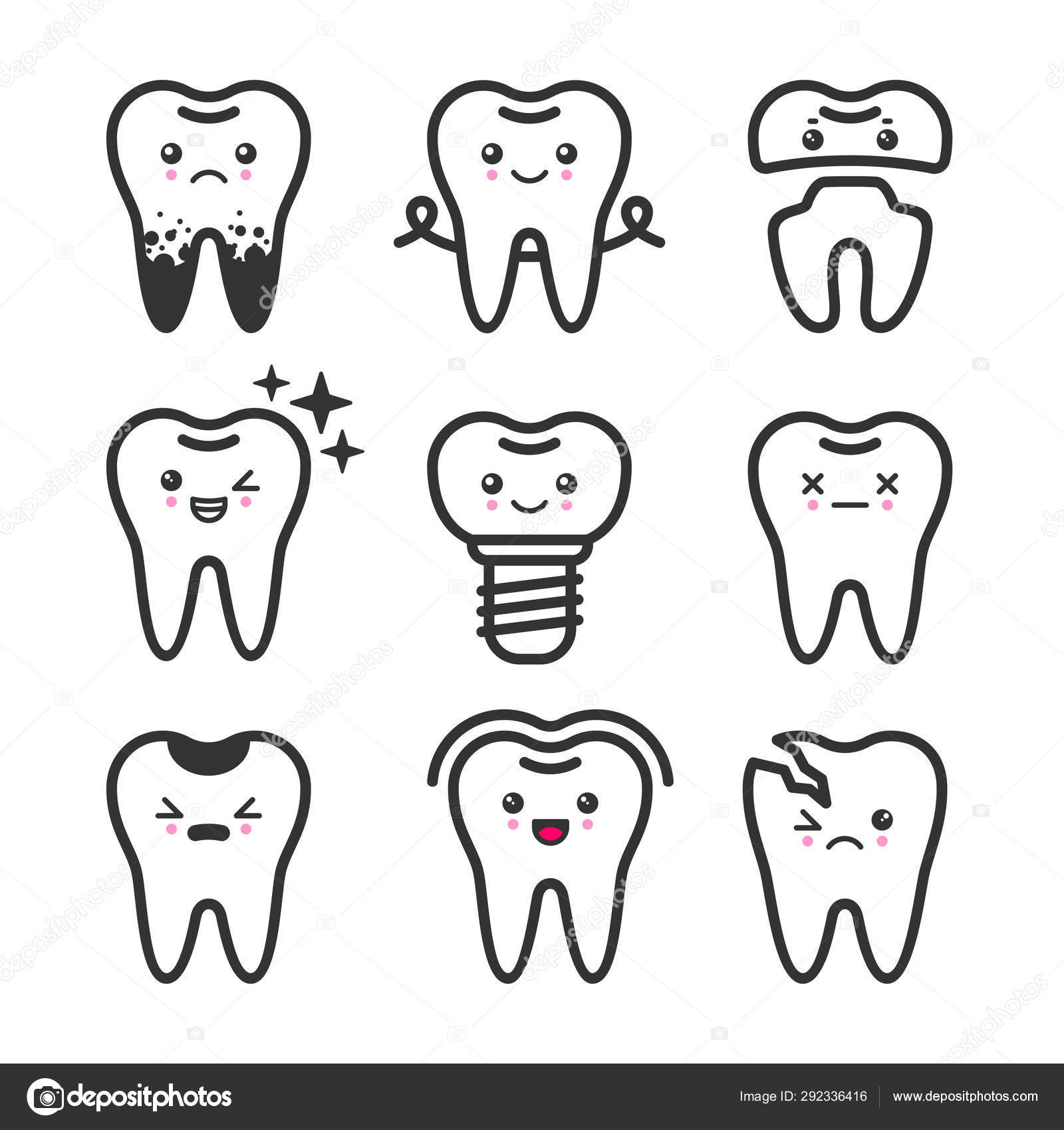 Cute Teeth Outline Vector Set With Different Emotions Different Tooth Conditions Stock Vector C Primula Kat 292336416