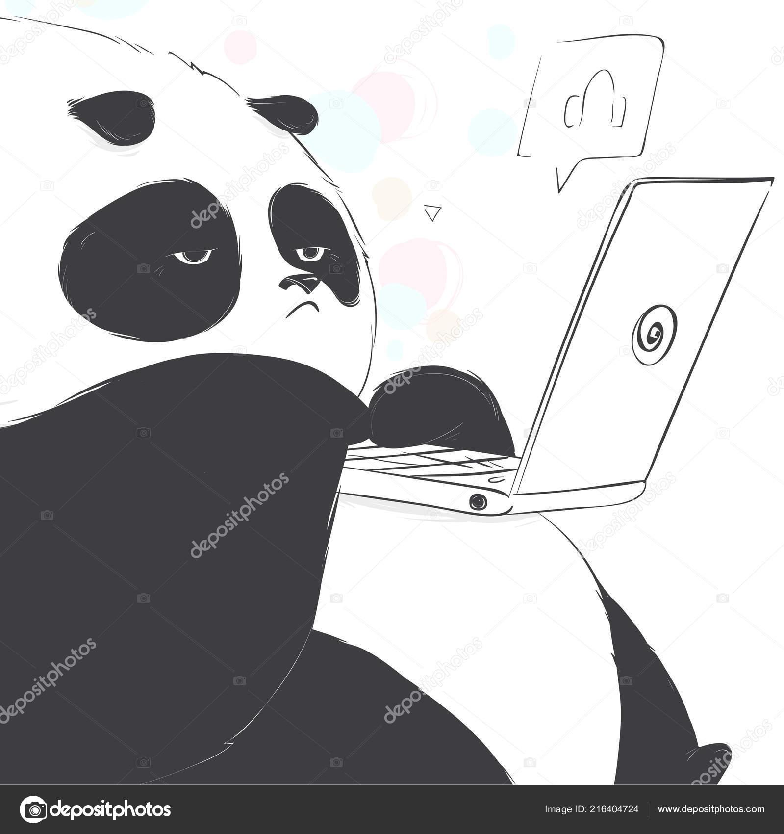 Nudne Roztomily Panda Sledovat Neco Zapisnik Kreslene Vtipy Styl
