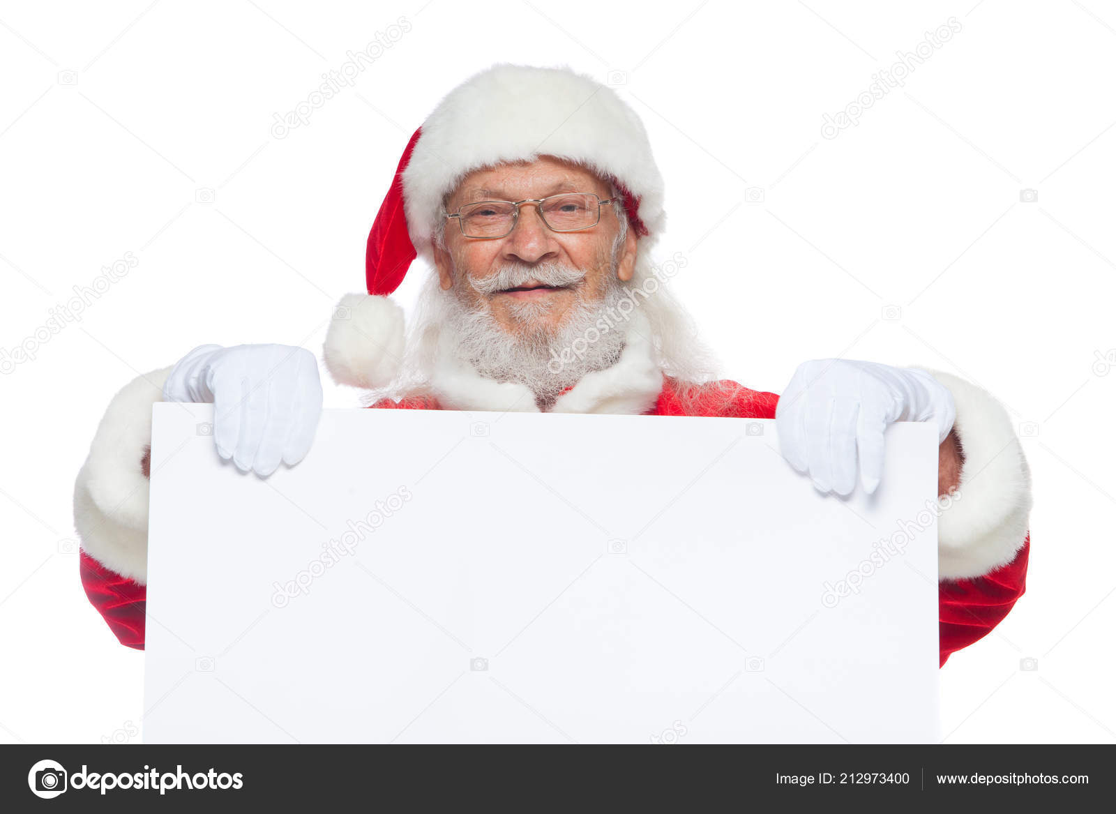 Christmas Good Santa Claus In White Gloves Holds A Blank White