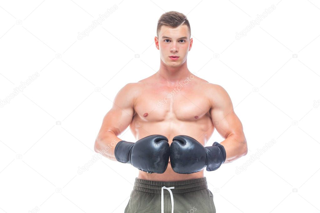 Strong Athletic Muscular Man On Black Background Stock