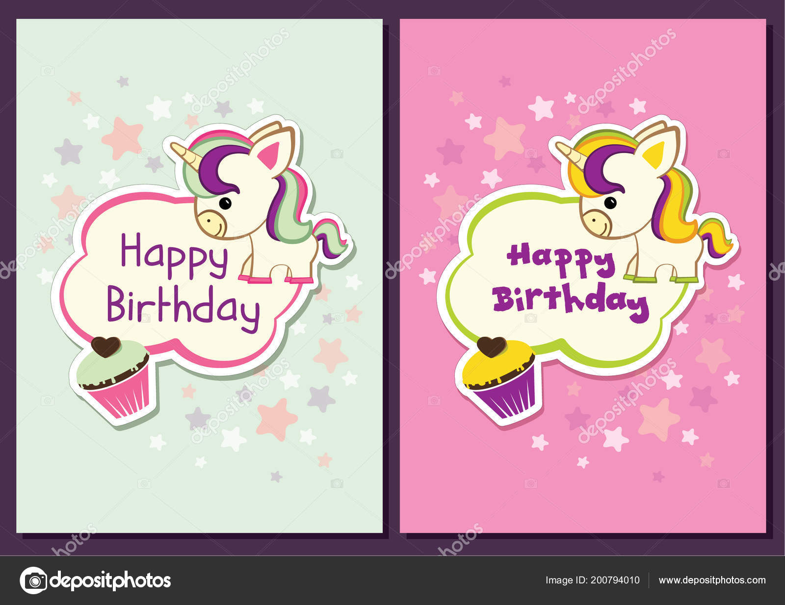 Cute Unicorn Birthday Card Stock Illustration Stock Vector