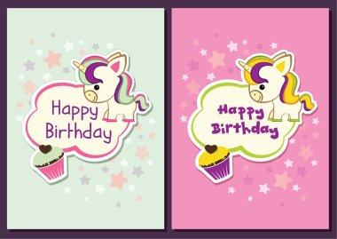 Cute unicorn birthday card - stock illustration