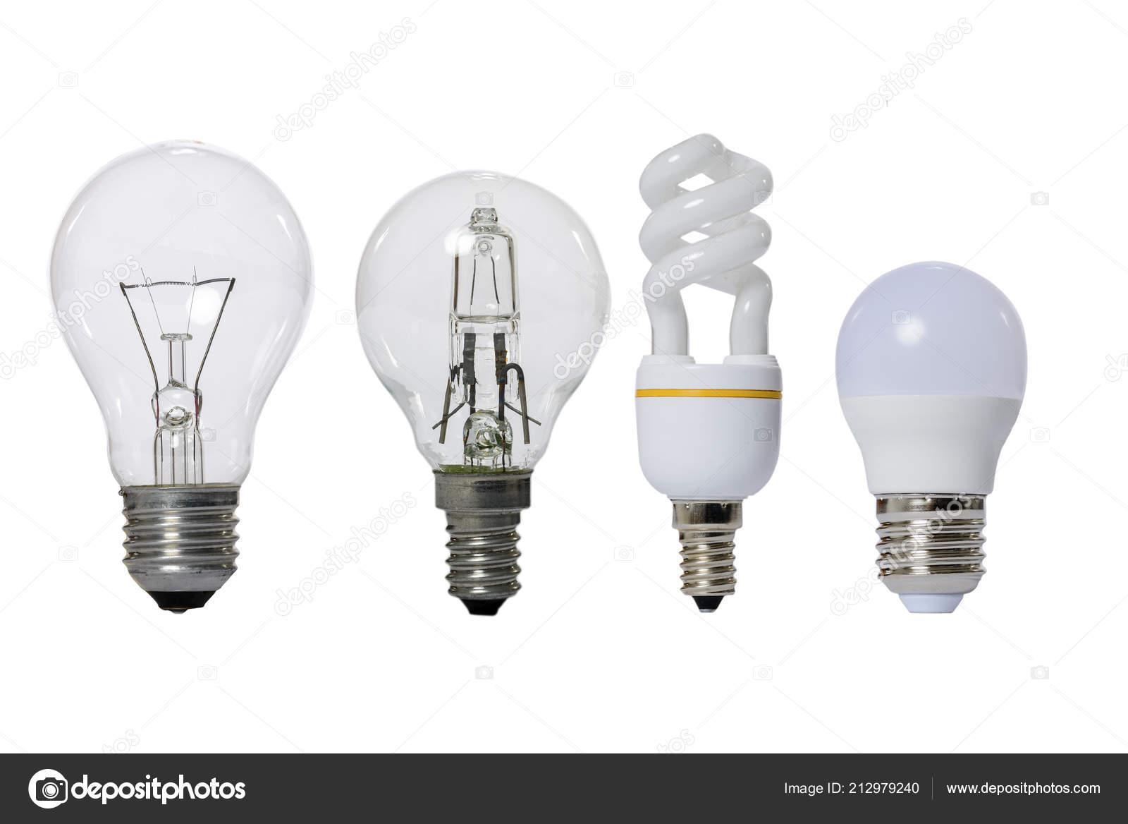 Gruppo lampade sfondo bianco led fluorescenti incandescenza