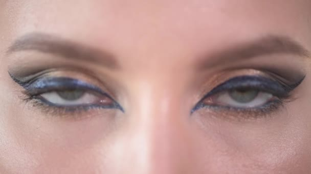 Fashionable eye makeup. A close-up of the eyes of a beautiful young girl.