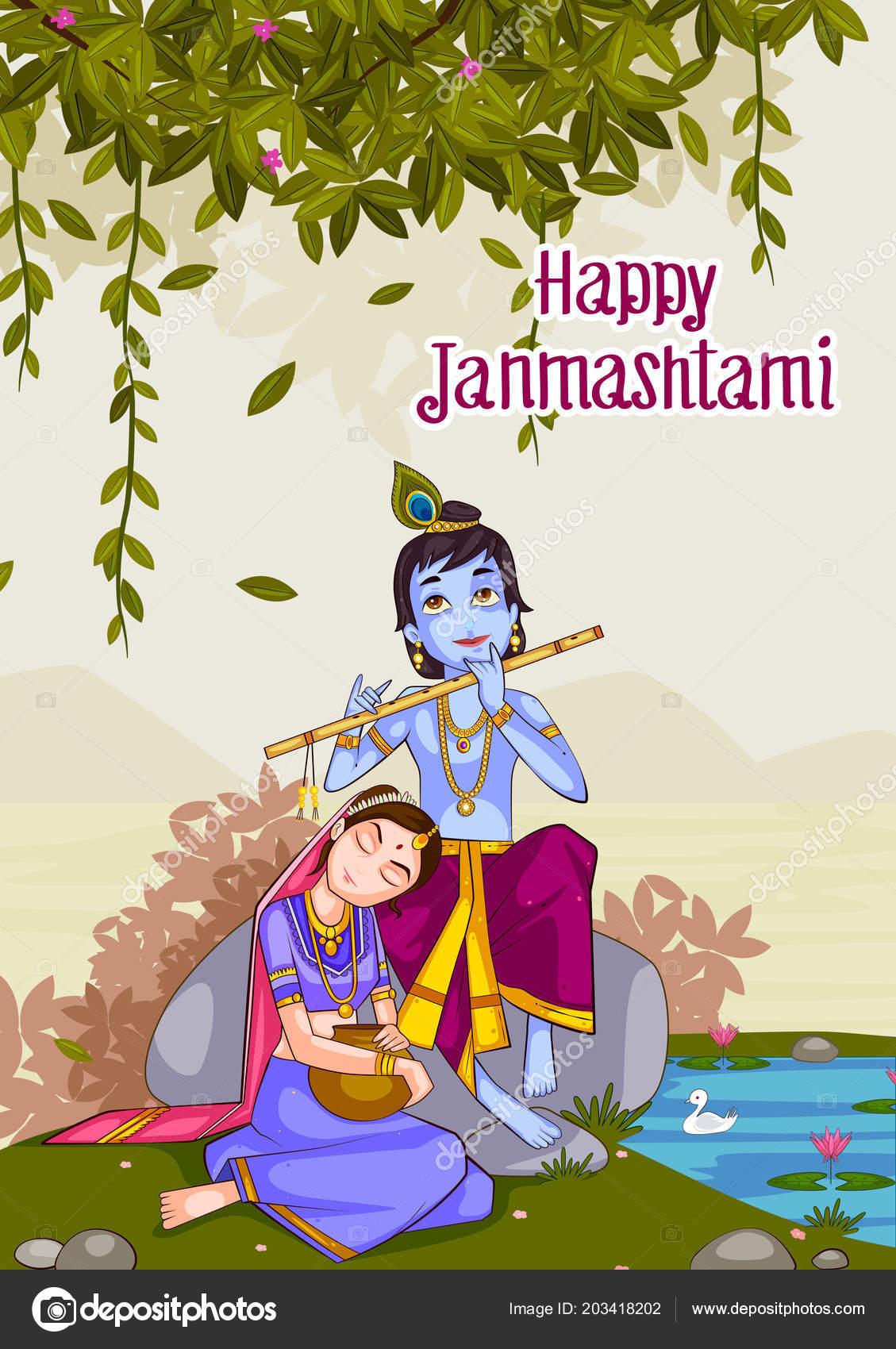 Kanha Playing Bansuri Flute With Radha On Krishna