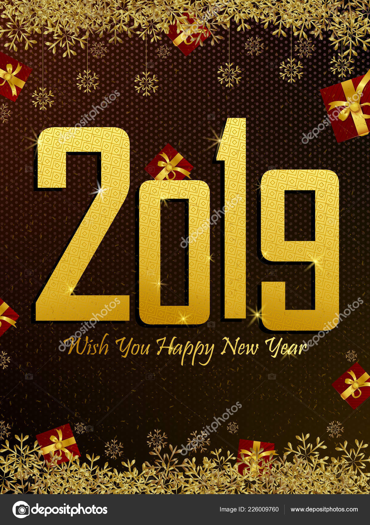 happy new year 2019 wishes greeting card template background design stock vector