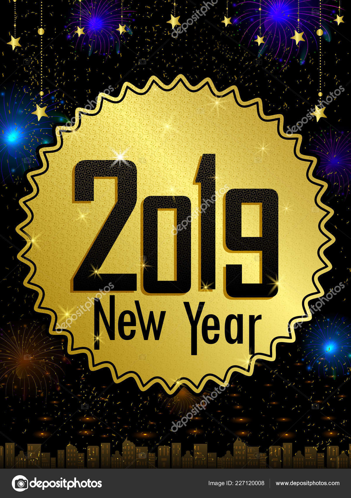 Glückliches neues Jahr 2019 wünscht Grußkarte Vorlage ...