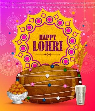 Happy Lohri Punjabi religious holiday background for harvesting festival of India