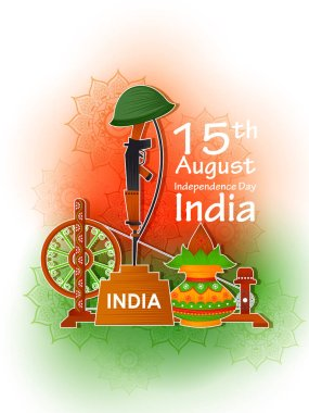 15th August Independence of India tricolor background in vector clip art vector