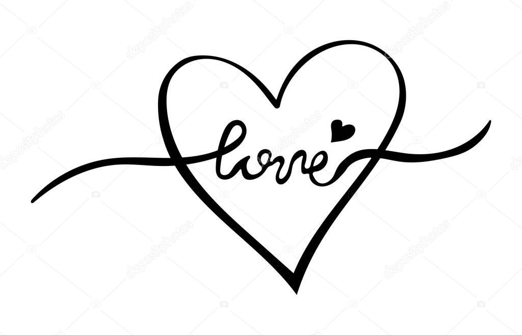 Handwritten word love and hearts on white background. icon