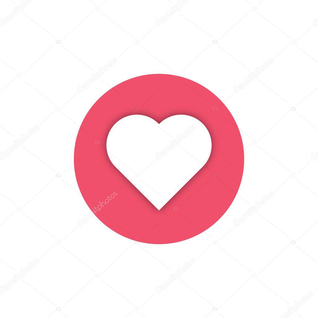 Stylish social media love icon. Icon with shadow. New love icon, vector illustration icon