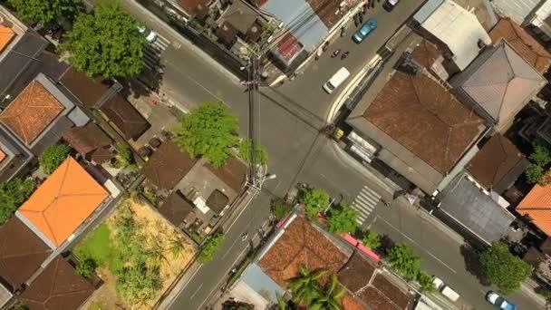 Aerial top view of crossroads in Seminyak, Bali