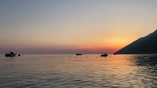 Beautiful sunset over Ioninan sea in Vlore Albania.
