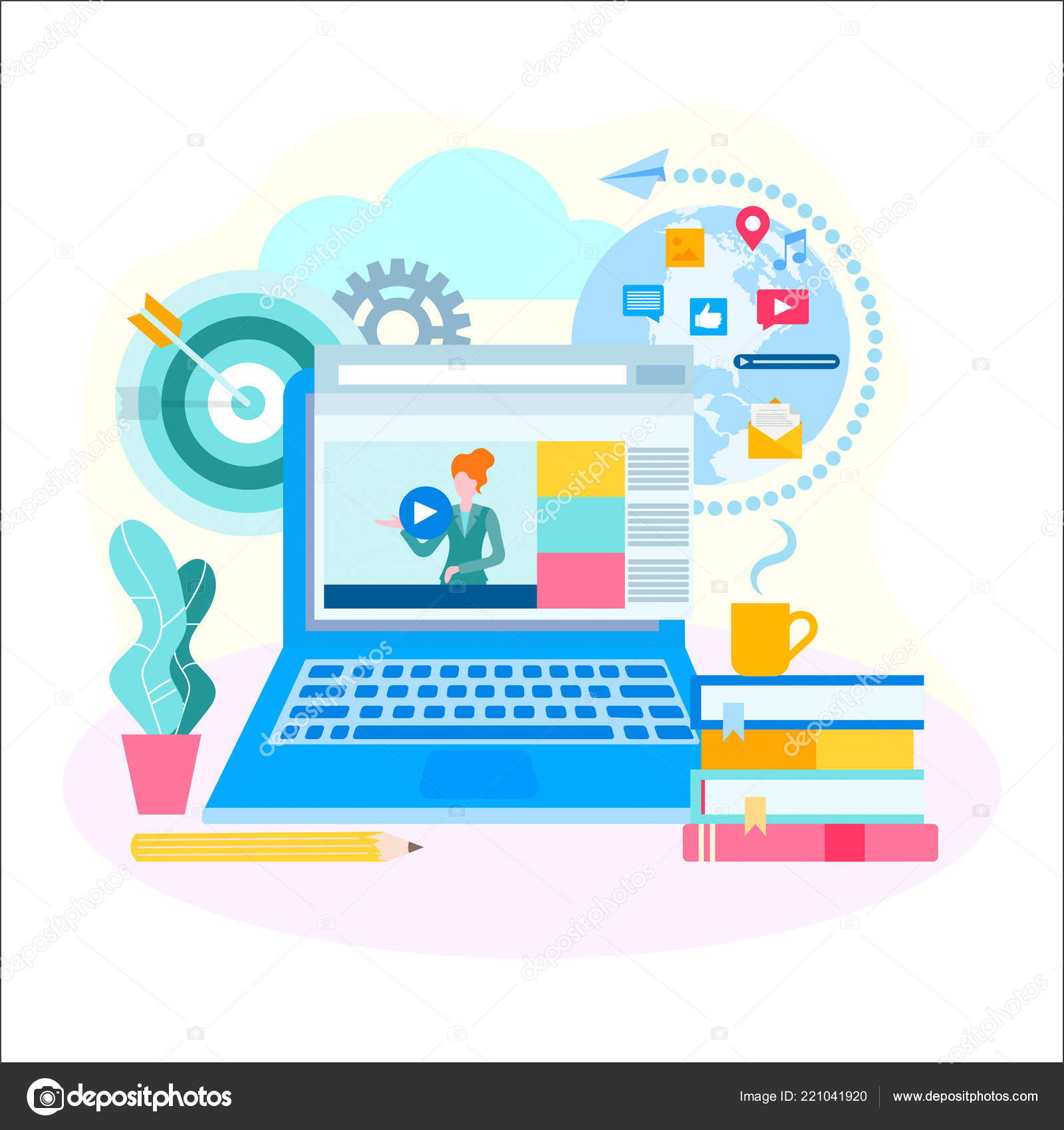 Distance Education Online Courses Remote Learning Concept Opportunity Receive Education Stock Vector C Alisarut 221041920