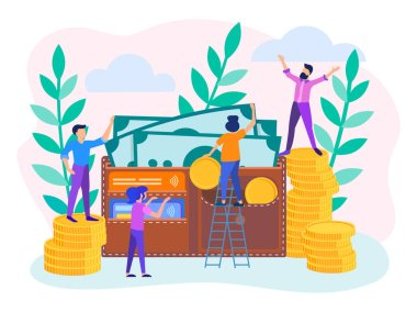 The concept of money turnover, replenishment and safety of the purse or account. Wallet with coins, banknotes and credit cards. Vector illustration.