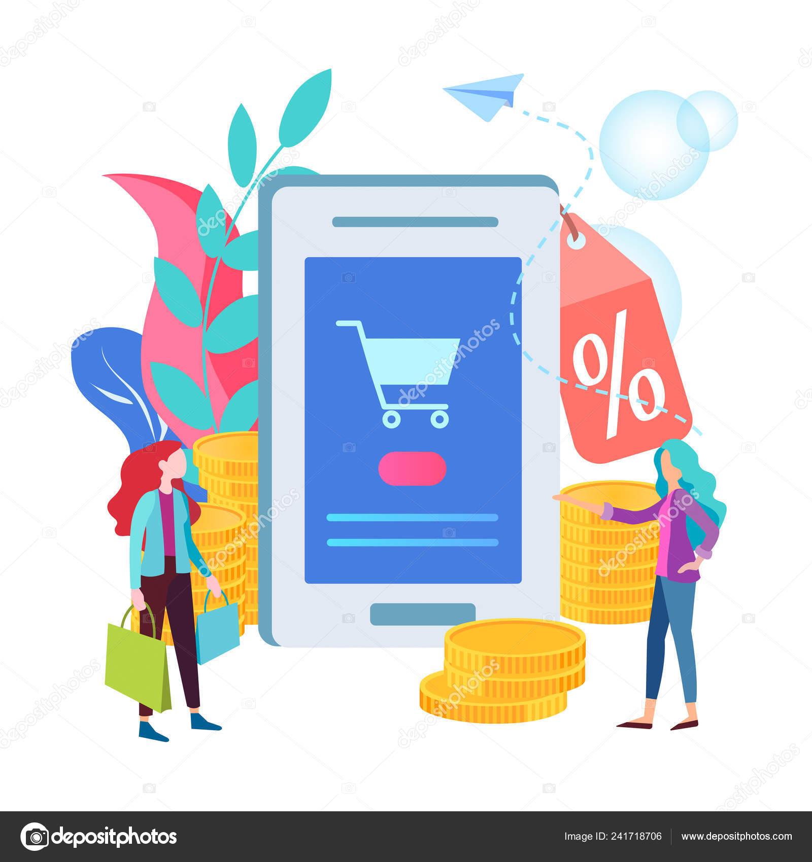d4712c259aa Концепция Скидки Интернет Магазине Мобильное Приложение Интернет ...