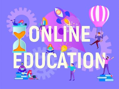 Online education concept, young people learn remotely, online learning, workshops, webinars and trainings on the Internet. Vector illustration for social media marketing, advertising posters, presentations, banners.