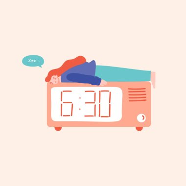 Young woman sleeping on the top of alarm clock, having trouble sleeping. Sleep disorders, night owls concept. Flat vector illustration in cartoon style.