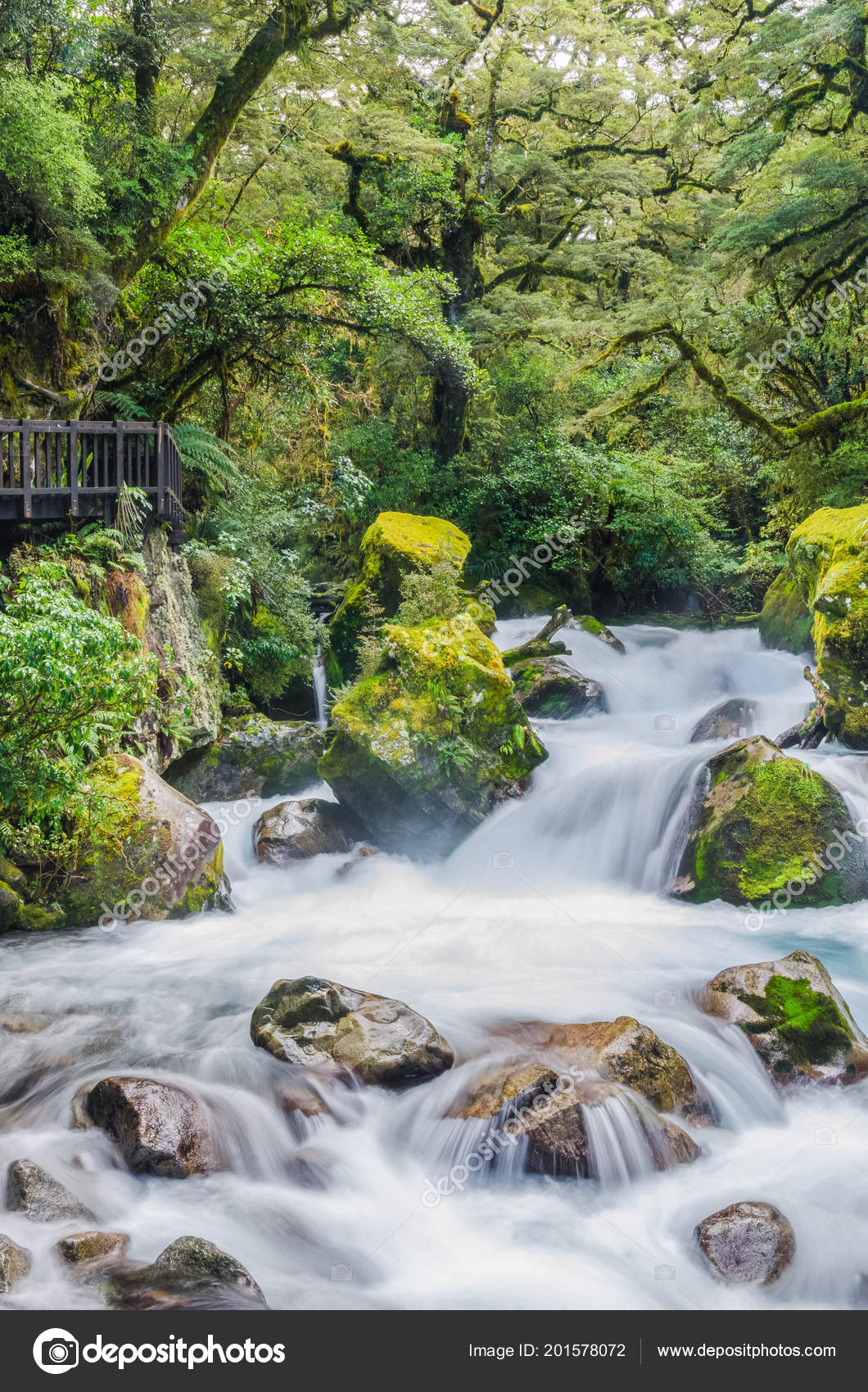 Waterfall Lake Marian Which Located Fiordland National Park