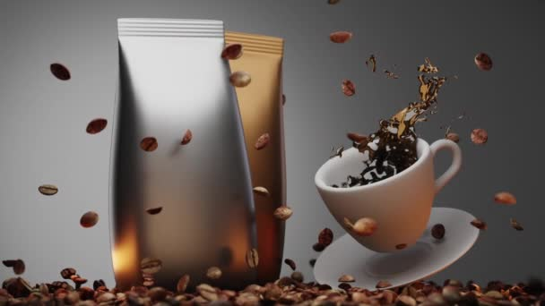 Arabica coffee beans on background of two premium foil bags in silver and gold. Cup of coffee with saucer in air,splashes and pouring aromatic coffee. Realistic 3d animation, freeze motion, side view.