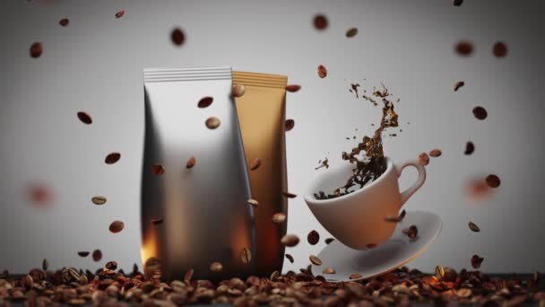 Natural roasted Arabica coffee beans on table and in air,sealed coffee premium packaging of gold and silver colors,splashes of spilled liquid coffee from cup.Realistic 3d animation of drink, dolly in.