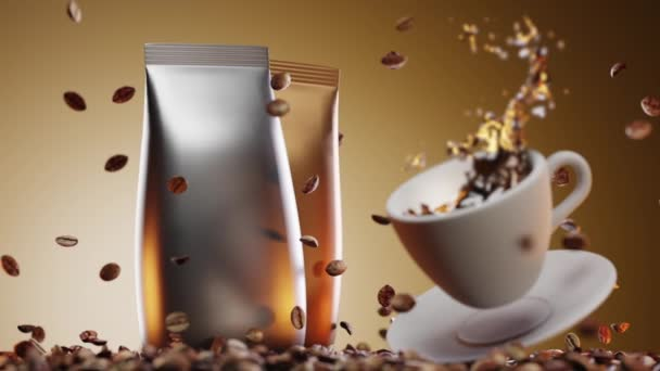 Hot cup of coffee in fall with splash against background of scattered natural roasted coffee beans and two luxurious hermetic packs of coffee in gold and silver colors. 3d animation,promotional video.