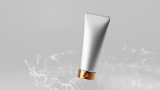 Realisztikus 3D animáció, krém, krém, testápoló, kozmetikai csomagolás arc és kezek műanyag fehér üres cső arany kupakkal fehér háttér tejcseppek és fröccsenések. Prémium termék promóció.