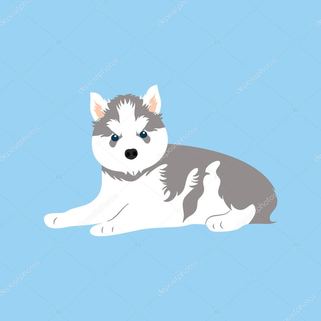 Siberian Husky Puppy Sitting Isolated On Blue Background Cartoon Dog Puppy Icon Vector Hand Drawn Childish Vector Illustration Great For Icon Symbol Logo Children S Book Premium Vector In Adobe Illustrator Ai