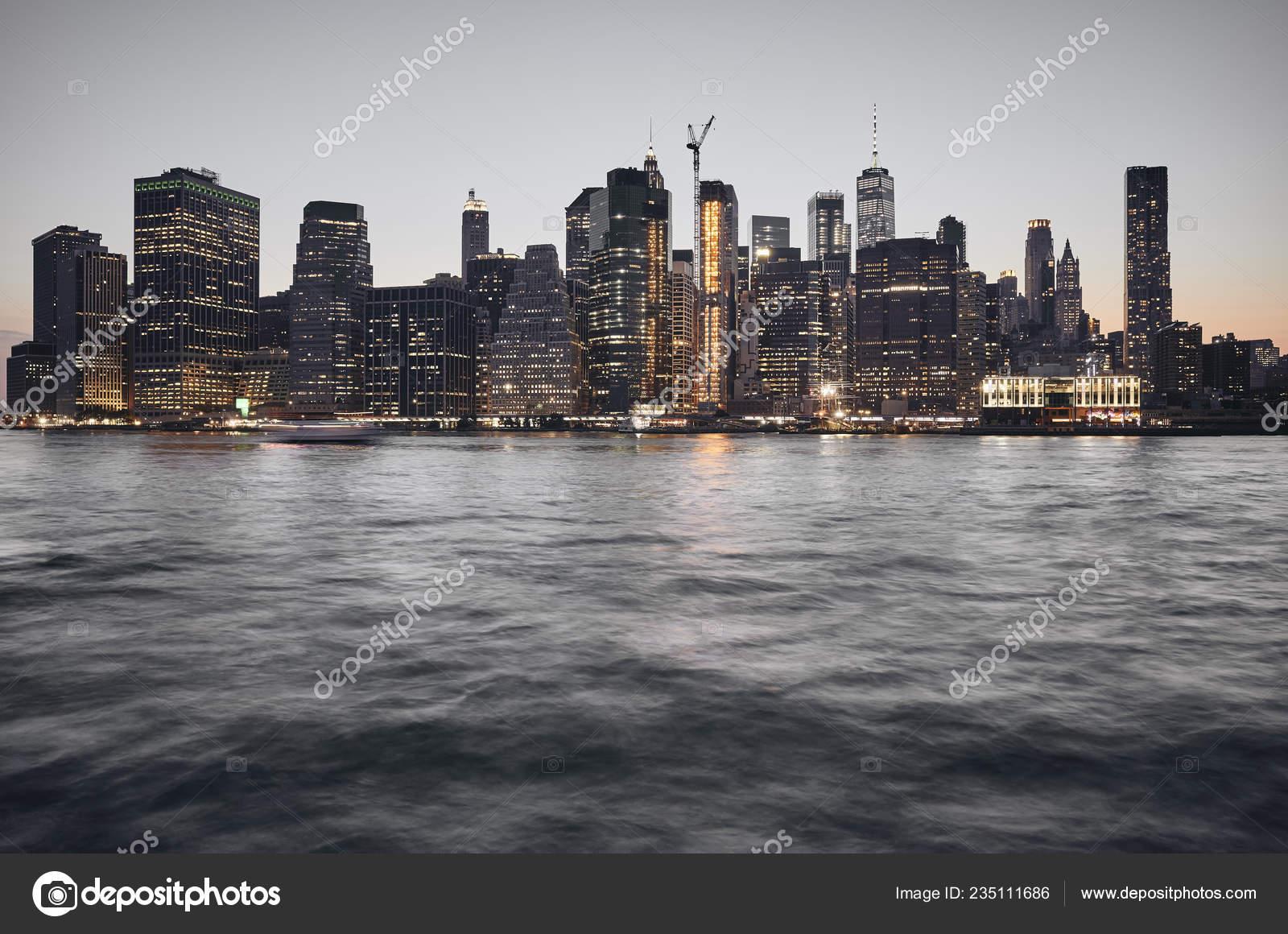 Manhattan Skyline Bei Sonnenuntergang Getönten Farbe Bild