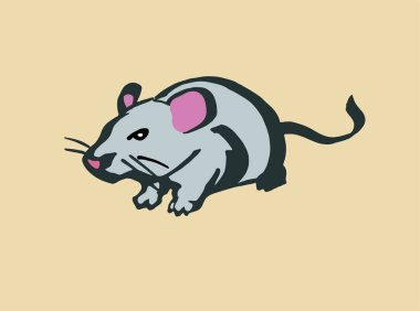 Rat. Stylized line drawing. Color illustration